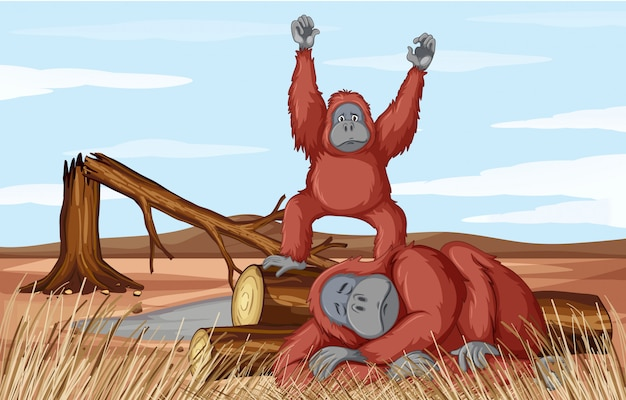 Deforestation with two monkeys Free Vector