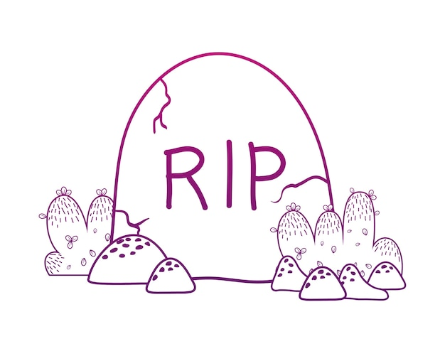 Degraded outline rip stone tablet with bushes and rocks Premium Vector