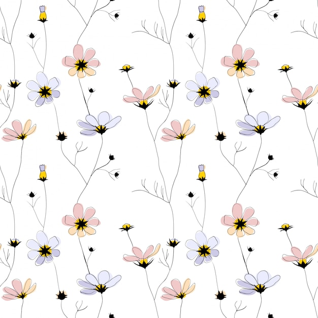 Delicate flowers seamless pattern on white Premium Vector