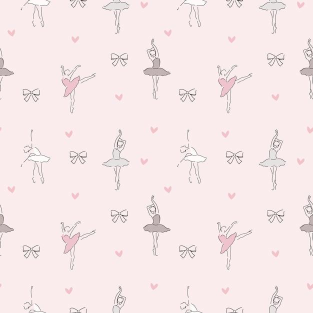 Delicate pattern of ballerina Premium Vector