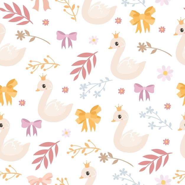 백조와 꽃으로 섬세한 패턴 무료 벡터