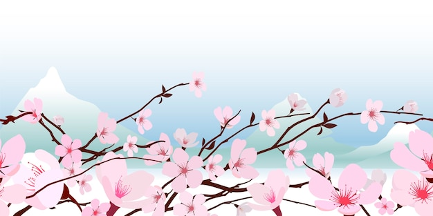 Delicate pink fresh spring japanese flowering cherry blossom in a horizontal banner Free Vector