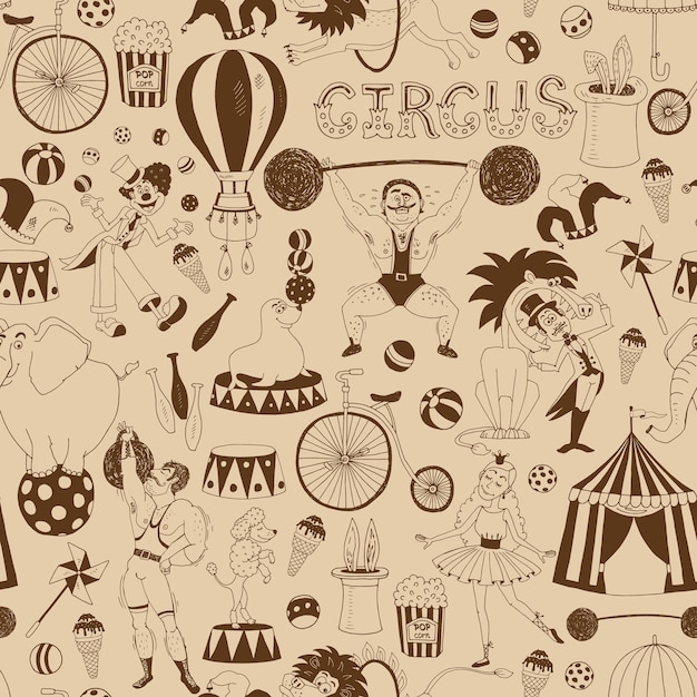Delicate retro seamless circus background pattern for invitations and wrapping paper Free Vector