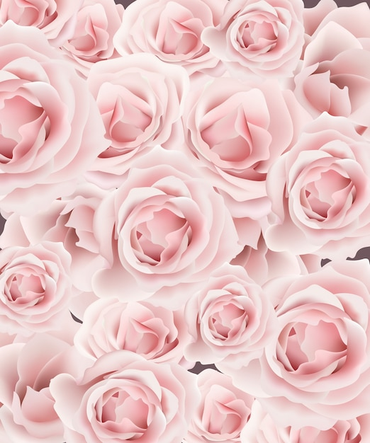 Delicate Roses Pattern Background Vector. Floral Template
