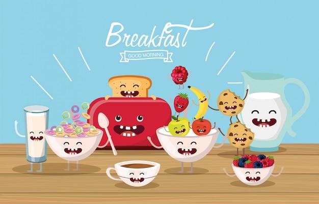 Вкусный и счастливый завтрак с руками и ногами Premium векторы