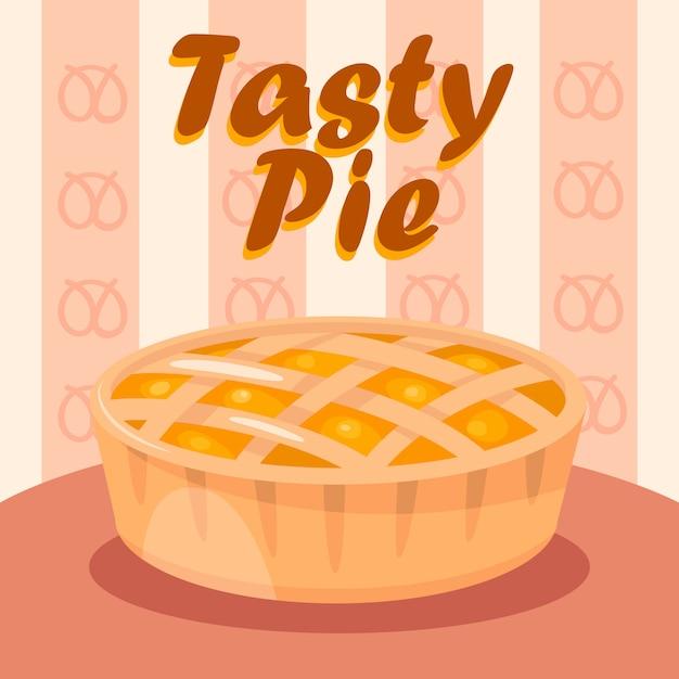 Delicious apple pie color flat social media banner Premium Vector