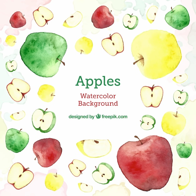 'delicious' background with different types of apples Free Vector