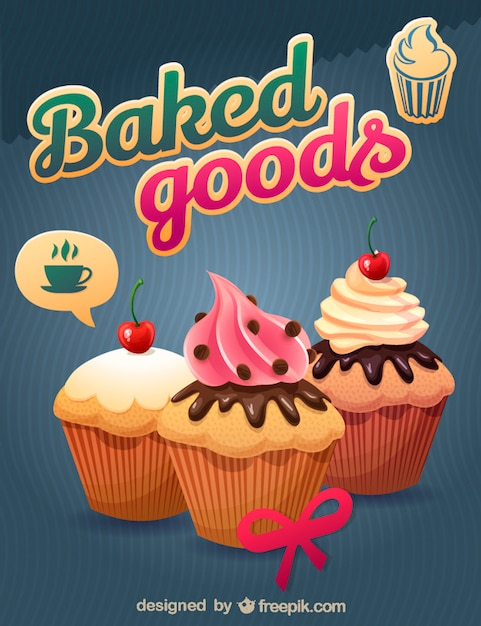 Delicious baked cupcakes Free Vector
