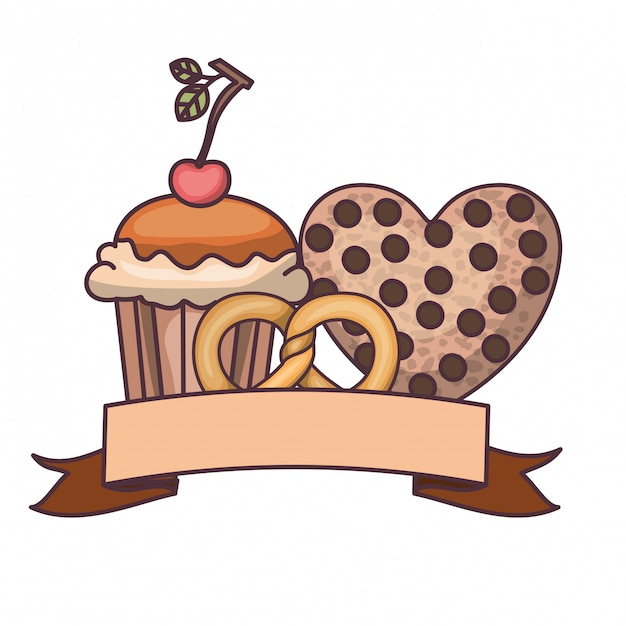 Delicious bakery cakes and cookies Premium Vector