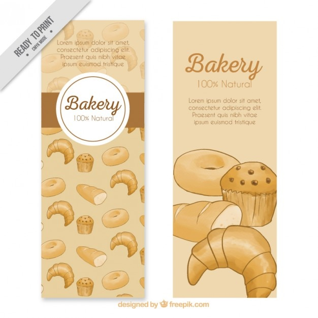 Delicious bakery products banners Free Vector