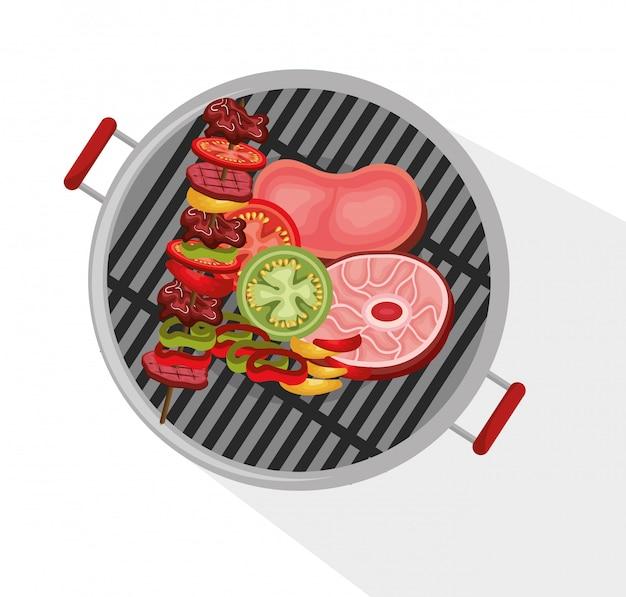Delicious barbecue food icon Free Vector