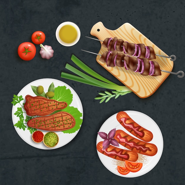 Delicious bbq dishes cooked on grill with sauce and vegetables realistic illustration Free Vector