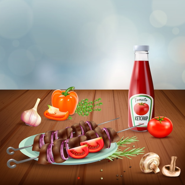 Delicious bbq grilled kebab served with vegetables mushrooms and ketchup realistic illustration Free Vector