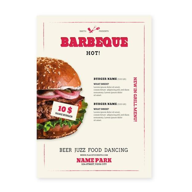 Delicious bbq picnic poster template Premium Vector