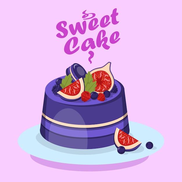 Delicious berry cake cartoon social media banner Premium Vector