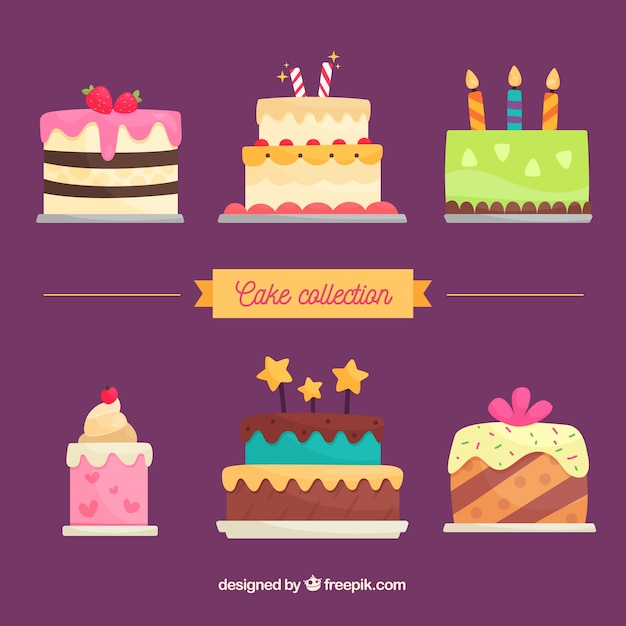 Delicious birthday cakes collection in flat style Free Vector