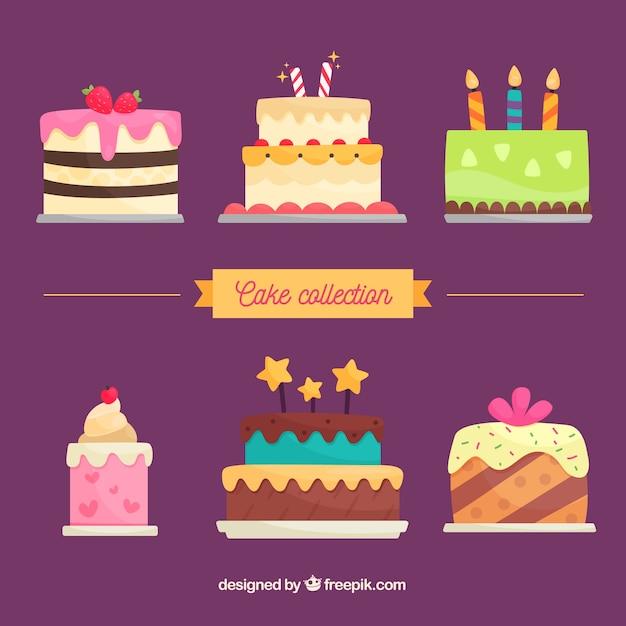평면 스타일의 맛있는 생일 케이크 컬렉션 무료 벡터