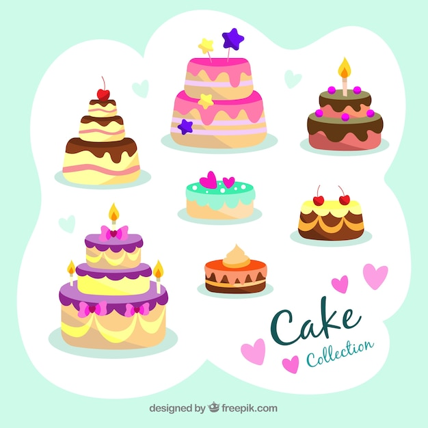 Delicious birthday cakes collection in flat style Vector Free Download