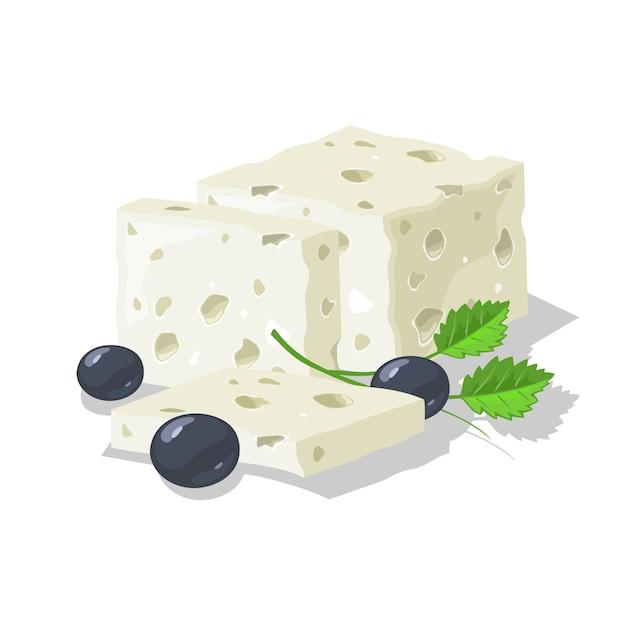美味しいブルー、塩漬け、または漬け込んだチーズをスライスに切り、オリーブと緑を添えてください。 Premiumベクター