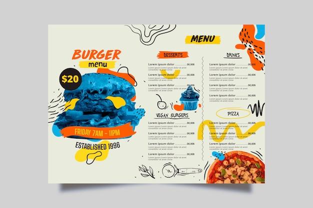 Восхитительное меню ресторана blue burger Бесплатные векторы
