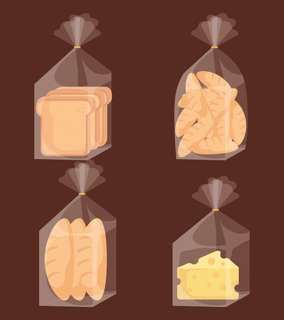 Delicious bread bags and cheese Free Vector