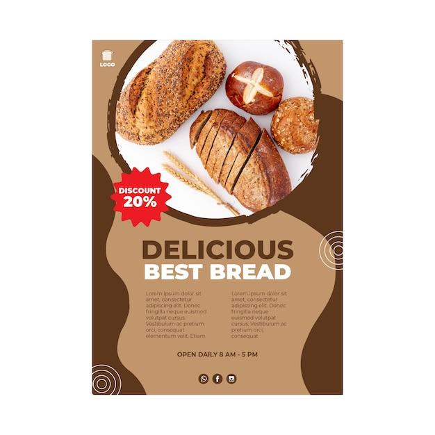 Delizioso concetto di poster di pane Vettore gratuito