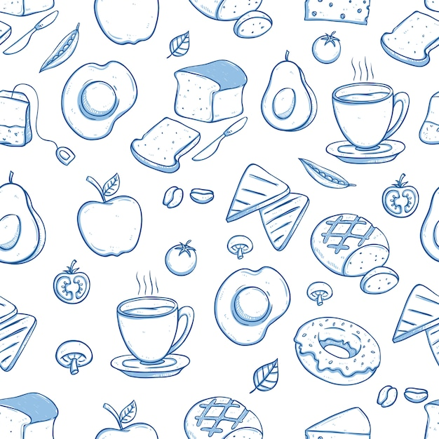 Delicious breakfast seamless pattern with doodle or hand drawn style Premium Vector