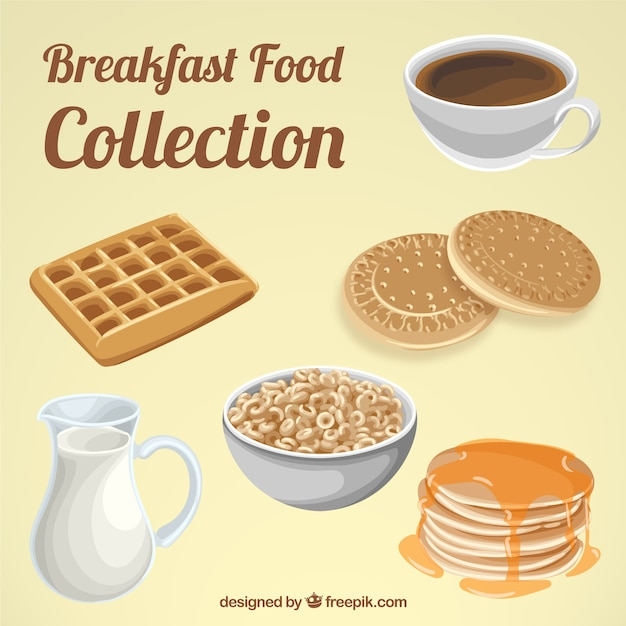 Delicious breakfast with nutrients Free Vector
