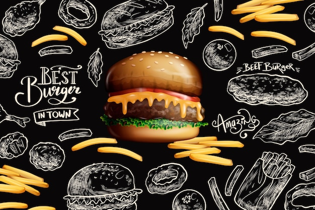 Delicious burger and french fries Free Vector