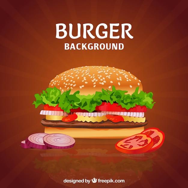 Вкусный бургер с разнообразными ингредиентами Бесплатные векторы