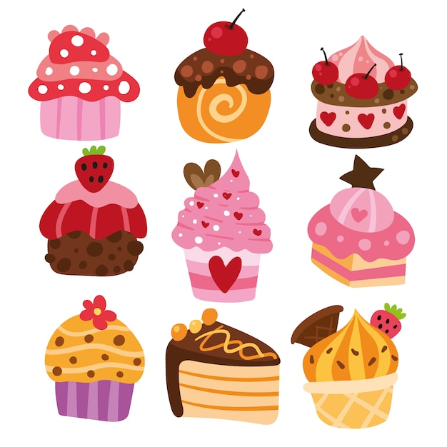 Delicious cake collection Free Vector