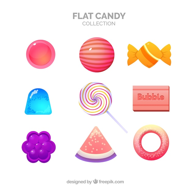 Delicious candies collection in flat style Free Vector