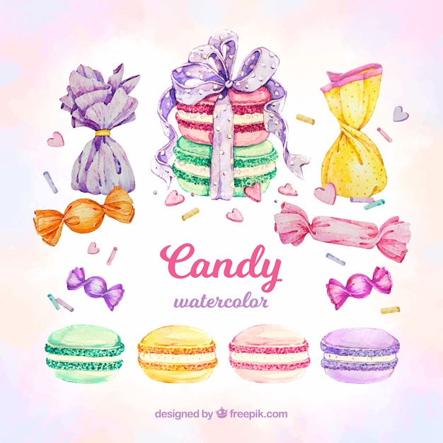 Delicious candies collection in watercolor style Free Vector