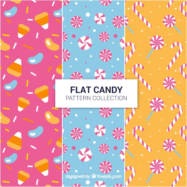 Delicious candies patterns collection in flat style Free Vector