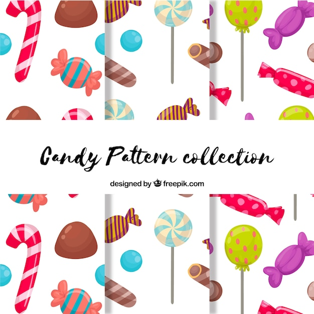 Delicious candies patterns collection Free Vector