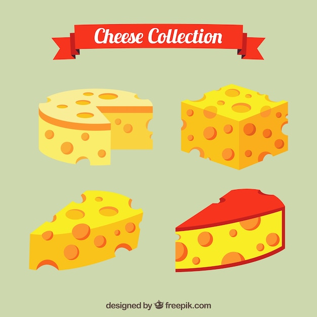 Delicious cheeses to taste Premium Vector