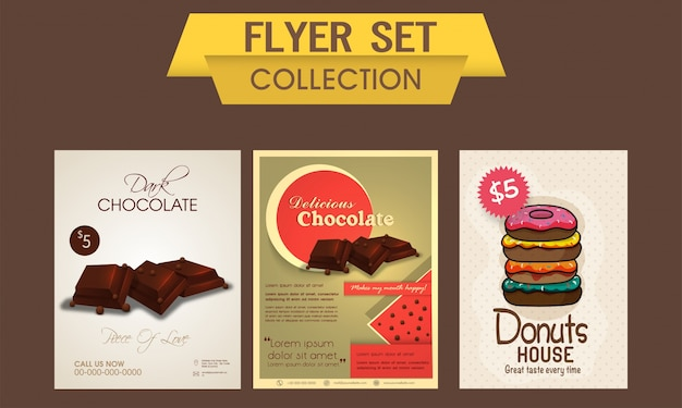 delicious chocolate and sweet donuts flyer template or banner set