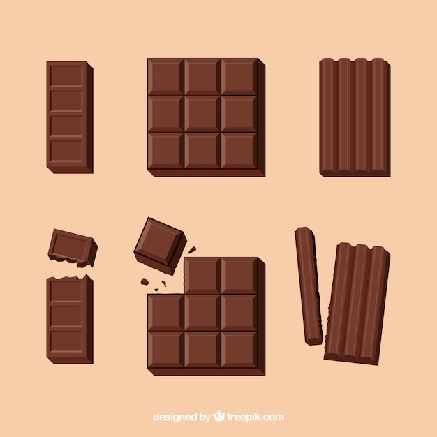 Delicious chocolate bars collection  Free Vector