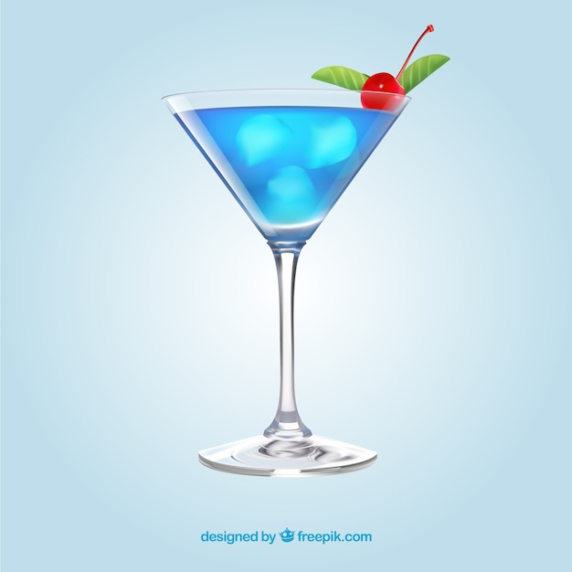 Delicious cocktail in realistic style Free Vector