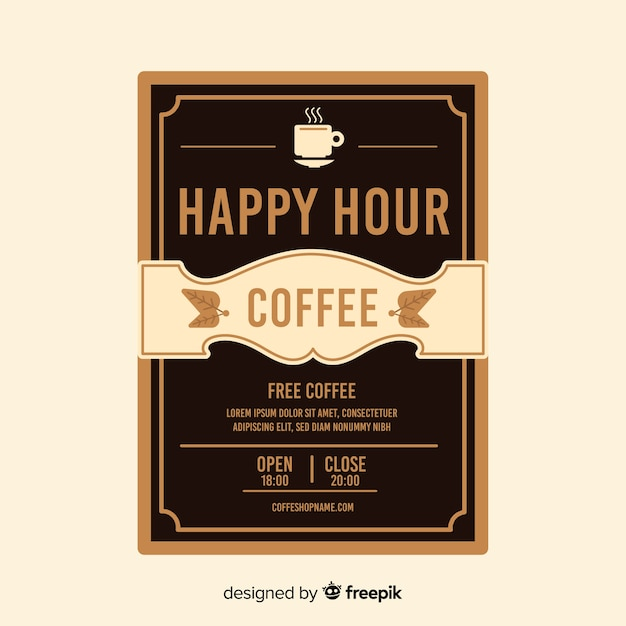 Delicious coffee happy hour poster template Free Vector