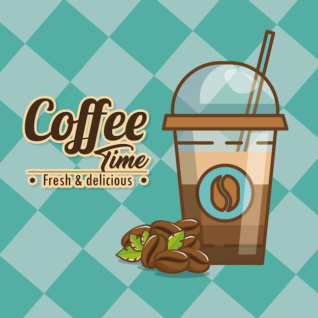 Delicious coffee time elements Free Vector