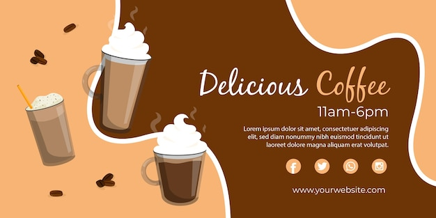 Delicious coffee web banner template Free Vector