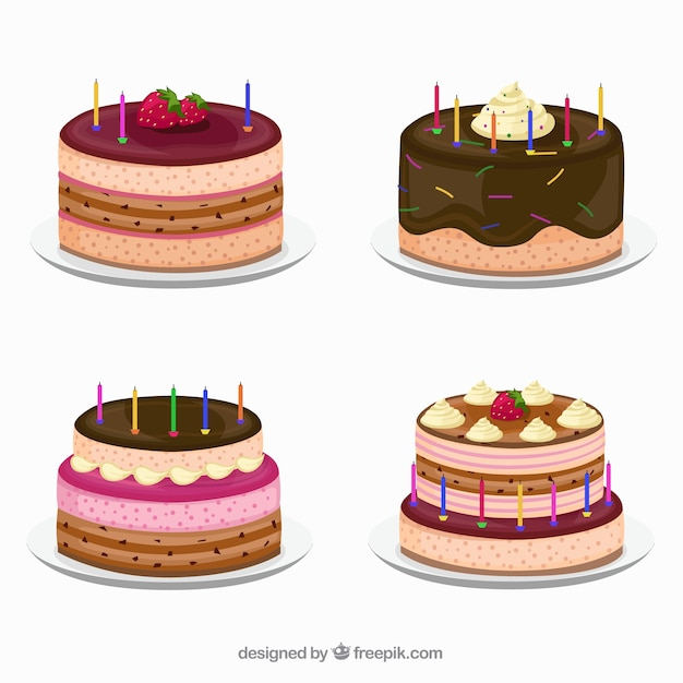 Delicious collection of birthday cakes Vector Free Download