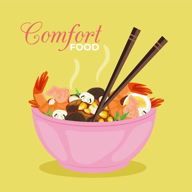 Concetto di cibo delizioso comfort Vettore gratuito