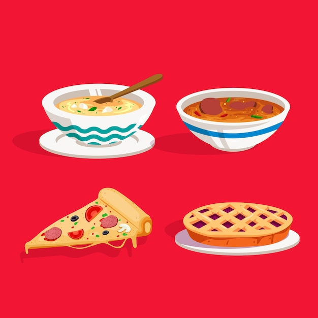 Вкусная концепция комфортной еды Бесплатные векторы