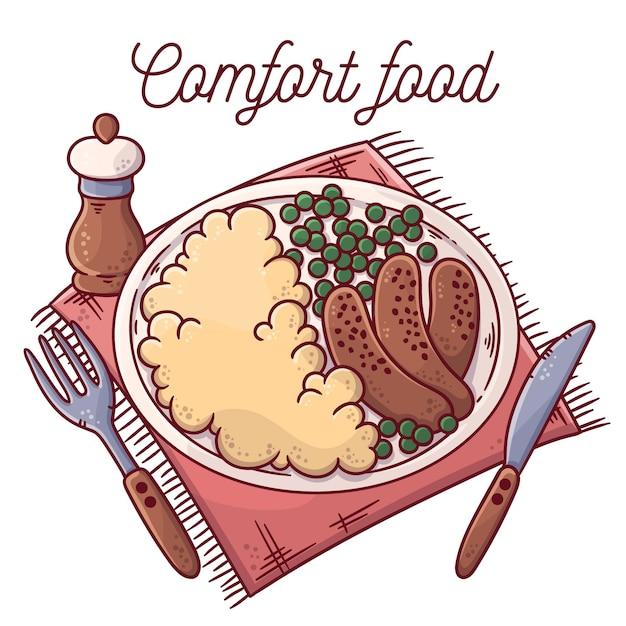 Delicious comfort food concept Free Vector