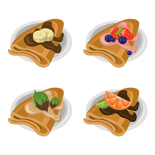 Delicious crepes collection Free Vector