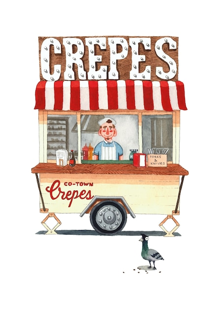 Delicious crepes pancakes wagon with pigeon  watercolor illustration Premium Vector