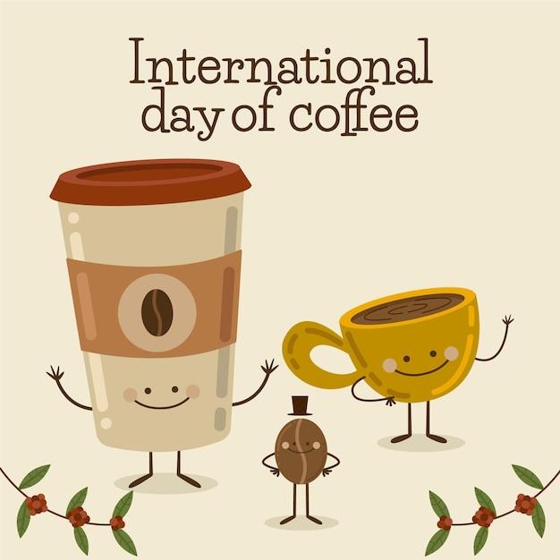 Вкусная чашка кофе и кофе с собой Premium векторы