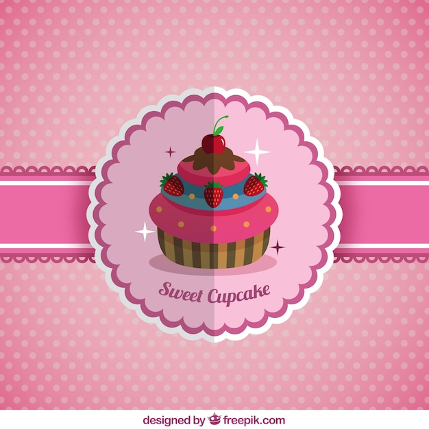 Delicious cupcake background in flat design  Free Vector
